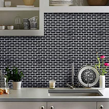 Buy Coohole 3d Self Adhesive Wall Stick Tile Self Adhesive Wall Tile For Kitchen Black Online At Low Prices In India Amazon In