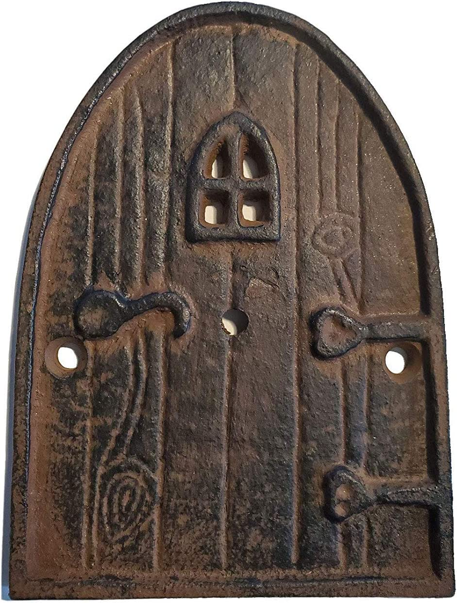 """Lulu Decor, 100% Cast Iron Rustic Brown Miniature Fairy Door 5"""", Garden Ornament Ideal for Bottom of Trees (5 Inch - Round Top)"""