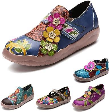 f9f4ce6b61fc99 gracosy Damen Leder Slipper, Espadrilles Mary Jane Schuhe Damen Sandalen  Halbschuhe Blume Metallic Vintage Leder