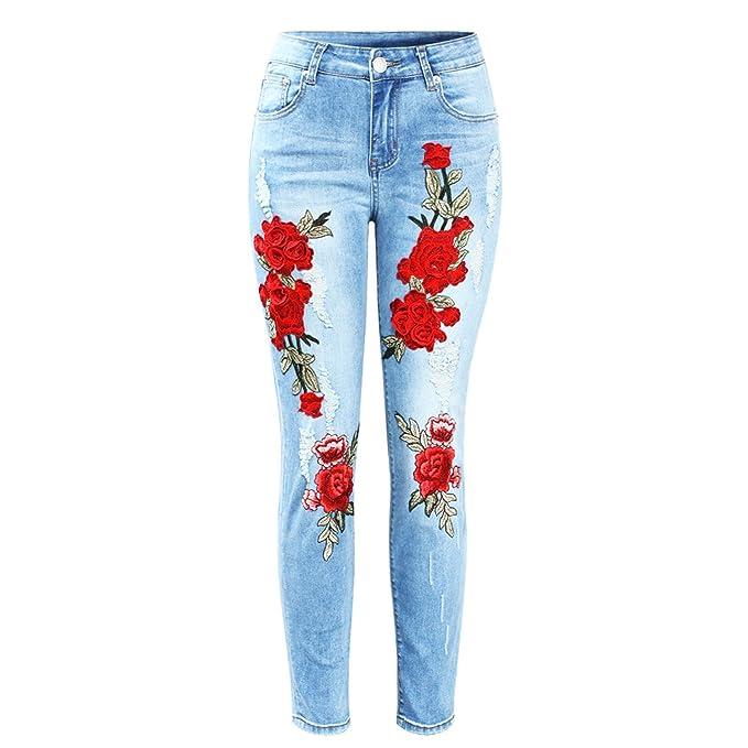 Amazon.com: mofgr Plus tamaño elástico jeans con arañazos ...