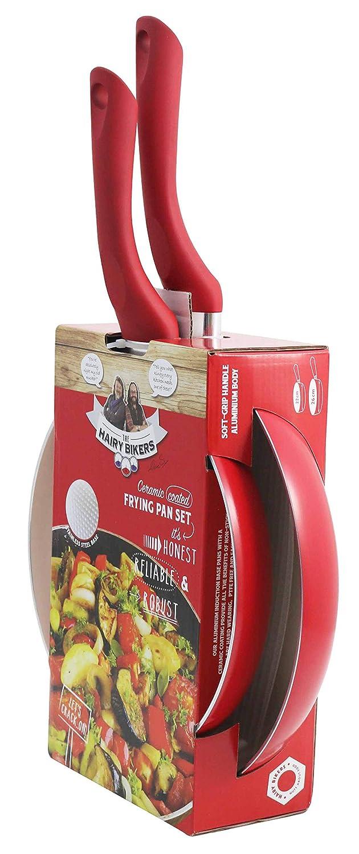Hairy Bikers - Sartén (2 unidades, 22 cm, 26 cm), color rojo ...