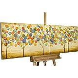 KunstLoft Dipinto in acrilico Foglie d'autunno colorate' in 150x50cm | Tele originali manufatte XXL | Un bosco e oro colorato da alberi astratti | Quadro da parete dipinto in acrilico arte moderna