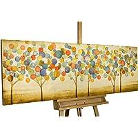 Alberi colorati astratti nel bosco su fDipinto in acrilico KunstLoft® 'Foglie d'autunno colorate' in 150x50cm | Tele originali manufatte XXL | Un bosco e oro colorato da alberi astratti | Quadro da parete dipinto in acrilico arte modernaondo beige