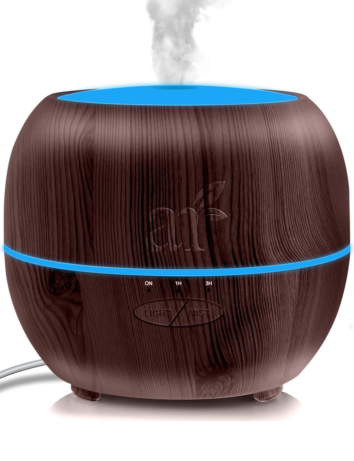 ArtNaturals Aromatherapy Essential Oil Diffuser – (13.5 Fl Oz/400ml Tank - Dark Brown) – Ultrasonic Aroma Humidifier - Auto Shut-Off and 7 Color LED Lights – For Home, Office & Bedroom