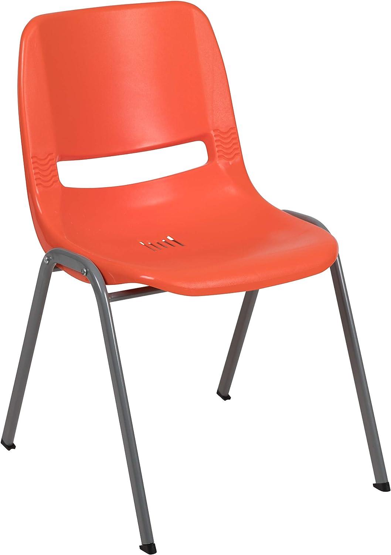 Flash Furniture HERCULES Series 880 lb. Capacity Orange Ergonomic Shell Stack Chair with Gray Frame