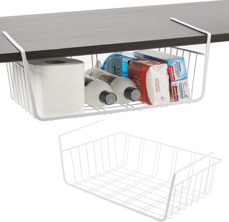 Premier Housewares Set Of 2 X Under Shelf Table Storage Basket Rack Kitchen Wire Mesh Cabinet Organiser