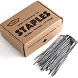Garden Stakes 6 Inch 11G Anti Rust Heavy Duty U Shaped Weed Barrier Fabric Christmas Lawn Decorations Landscape Staples 100Pcs