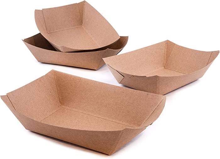 PaperMi Brown Paper Food Tray - USA Made 2lb Disposable Kraft Hot Dog Tray, Paper Food Trays for Picnics, Carnivals, Camping - Food Serving Tray Holds Hot and Cold Food - (250pcs)