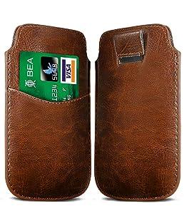 N4U Online Brown Card Slot Premium-PU-Leder Flip Pull Tab Hülle Tasche für Blackberry-Q5
