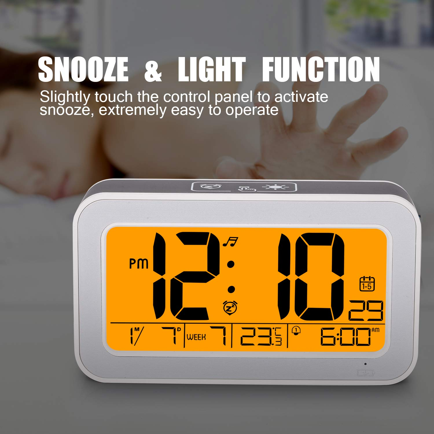 LCD Music Alarm Clock, Digital Clock for Bedroom with Dimmer, Snooze,Rechargeable Clock with Dual Alarm, Smart Touch Backlight,Adjustable Alarm Volume