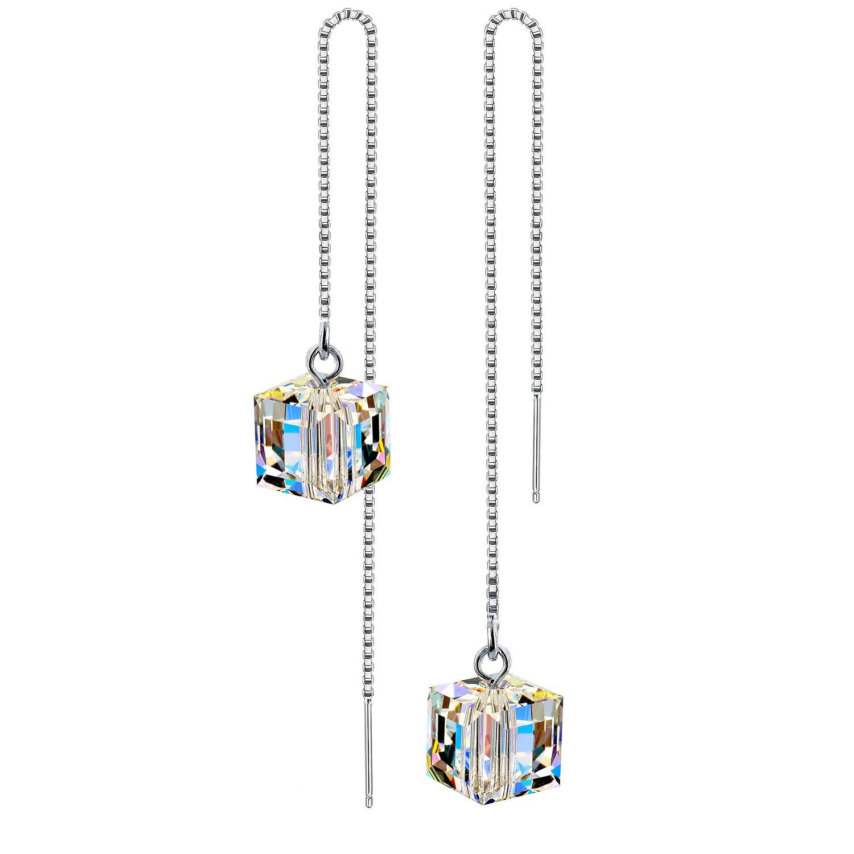 AllenCOCO 925 Silver SWAROVSKI Crystals Long Tassel Threader Dangle Drop Earrings(white)