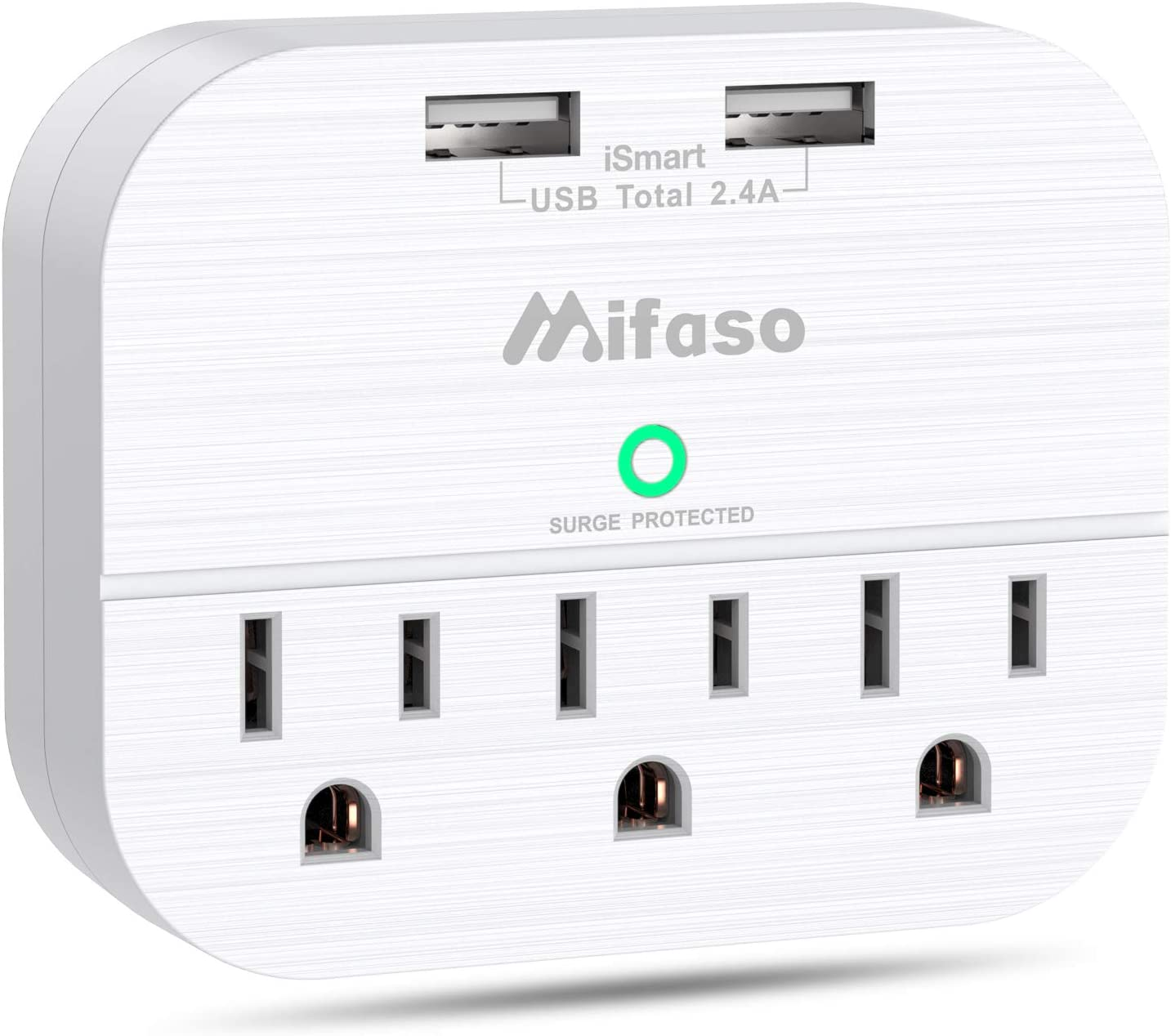 3 Outlet Surge Protector, Multi Plug Outlet Extender with 2 USB Wall Charger (Smart 2.4 A), Outlet Wall Adapter Power Strip for Travel Home, School, Office - 490Joules White