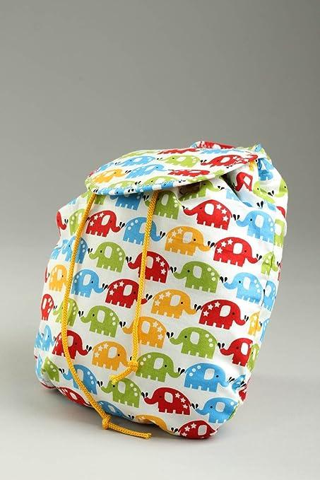 Mochila hecha a mano de textil regalo original bolso para ninos con elefantitos