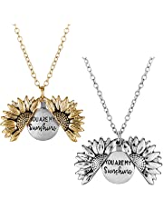Mucers You are My Sunshine Engraved Necklace Sunflower Locket Necklace