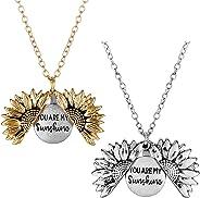 Mucers You are My Sunshine Engraved Necklace Sunflower Locket Necklace