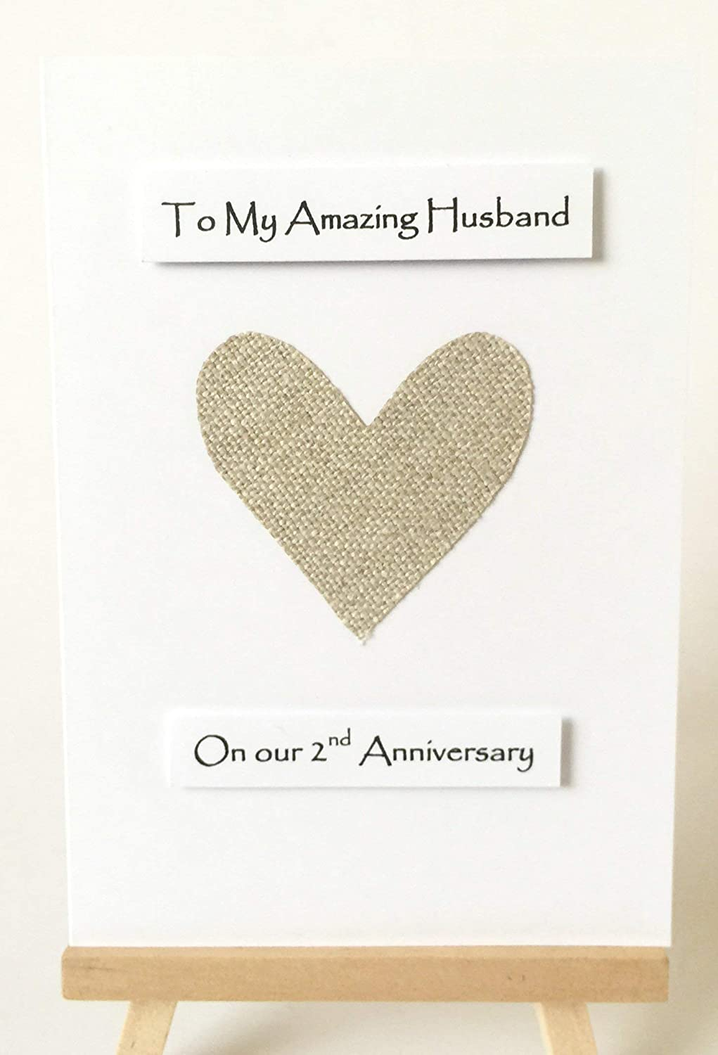 """4nd Wedding Anniversary Card Cotton Anniversary Wife Husband Her Him - Fawn  Cotton Heart - A4 size white card 4mm x 4mm 4.4"""" x 4.4"""""""