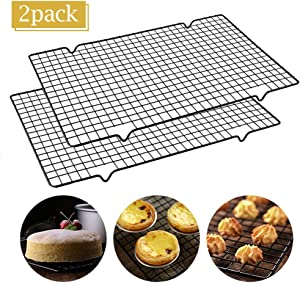 "【2-Pack】POLAR HAWK Cooling Racks Baking Rack -Stainless Steel Cooling Racks Baking Rack - 16"" x 10"" Set of 2 - Oven Safe Wire Racks Fit Quarter Sheet Pan - Small Grid Perfect To Cool and Bake"