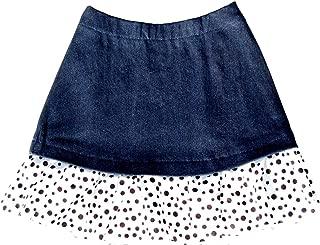 product image for Cheeky Banana Little Girls Denim Ruffle Skirt Size 5 Black & White Dots