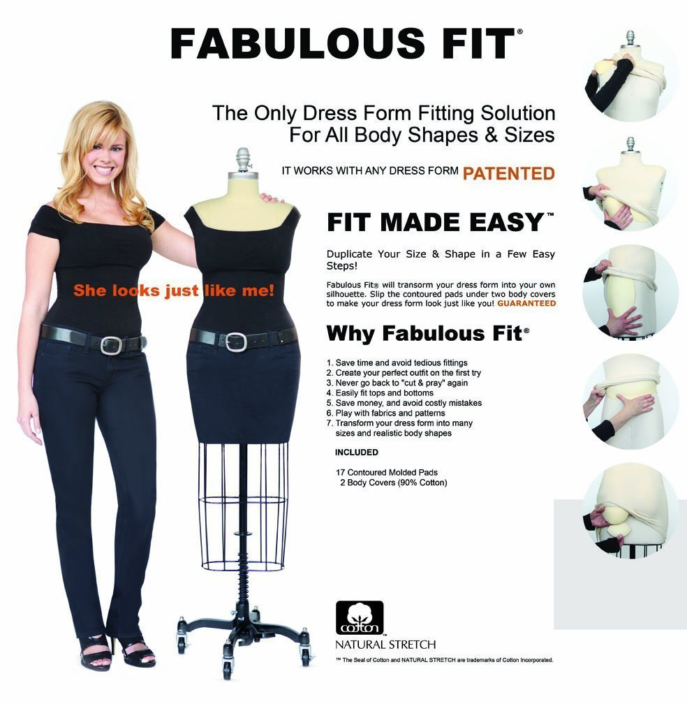 Bring Any Dress Form to Life! Fabulous Fit Dress Form Fitting System Basics Essential Shaping System and Princess Cover Natural, Medium Available in Every Size
