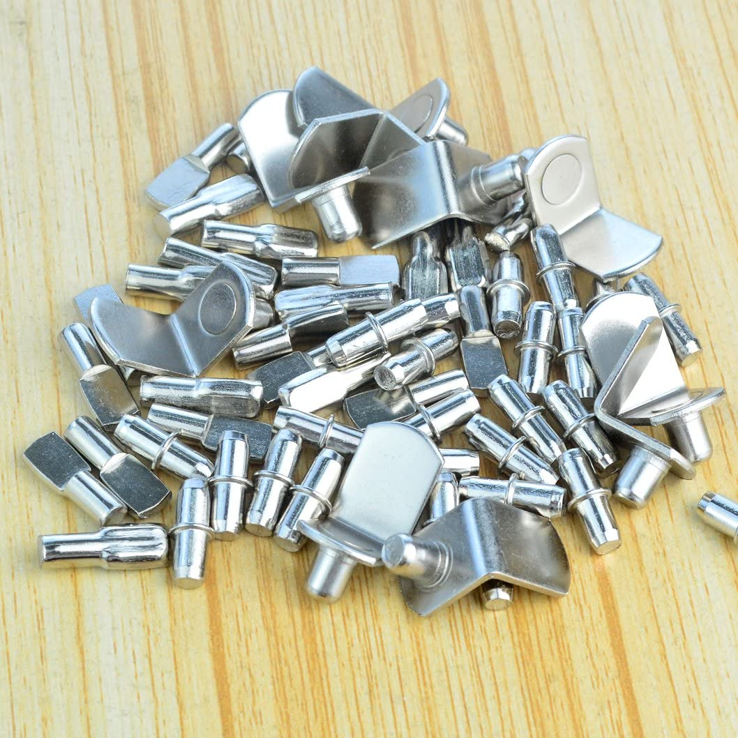 60pcs Shelf Bracket Pegs, Wobe Stainless Steel Shelf Pins Support Nickel Plated Shelf Peg Pin Supports for Cabinet Furniture Closet Shelf Bracket Wardrobe Office Accessories Display Stand: Home Improvement