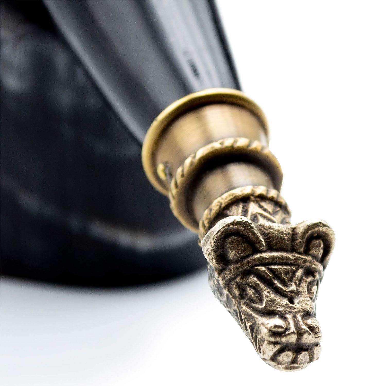 """Corno da 30 cm /""""Il Mjolnir/"""" Autentico Corno Vichingo di Bue per Bere Con Supporto in Legno Inciso e Sacca Regalo in Juta"""