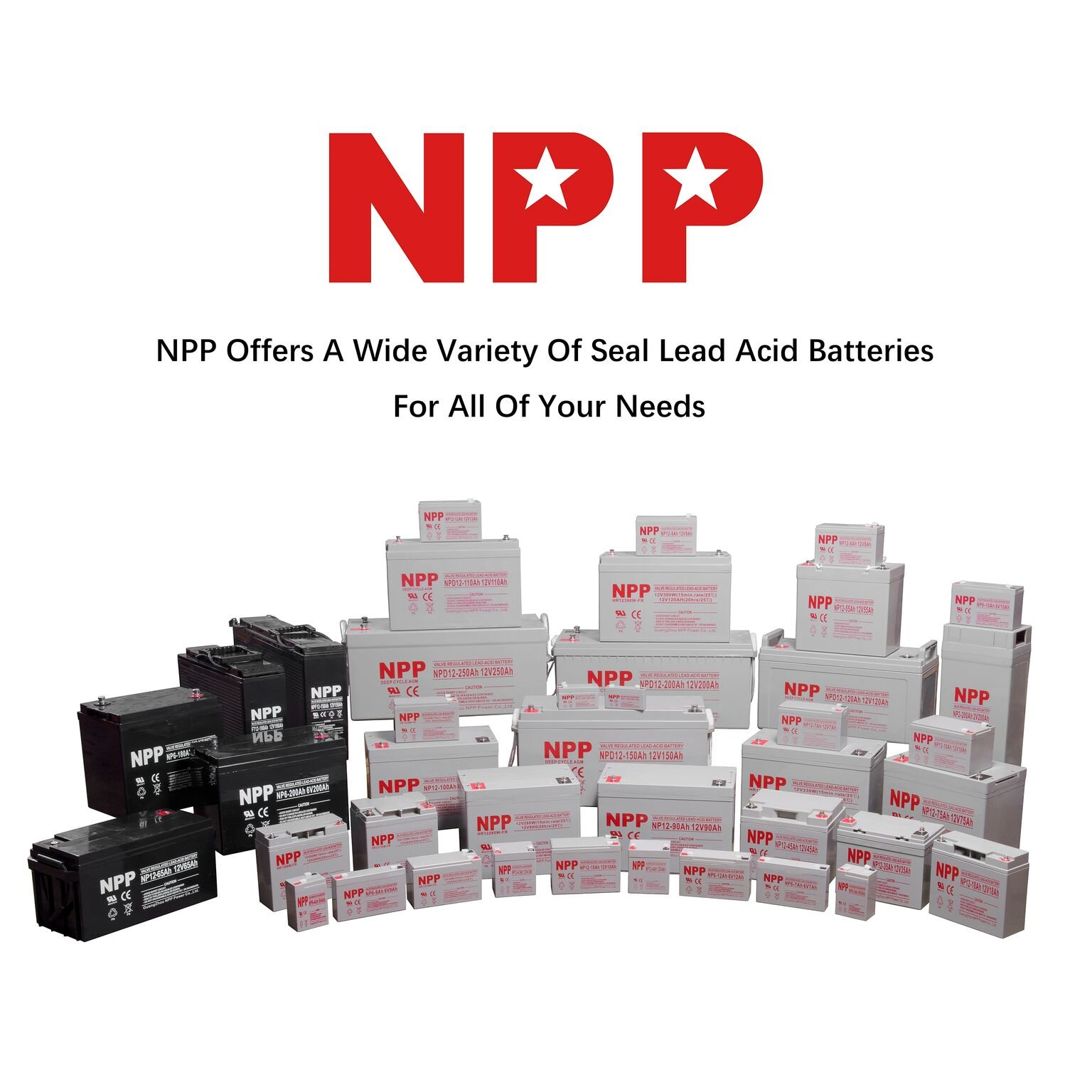 NPP HR1280W 12V 80W(15min.Rate/1.67V /Cell,12V 20Ah High Rate UPS Rechargeable Sead Lead Acid Battery with Button Style Terminals by NPP
