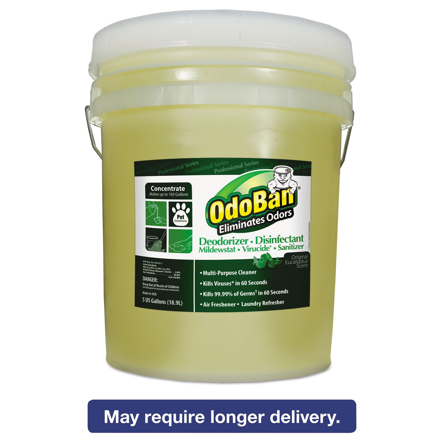 OdoBan 9110625G Concentrated Odor Eliminator, Eucalyptus, 5 gal Pail
