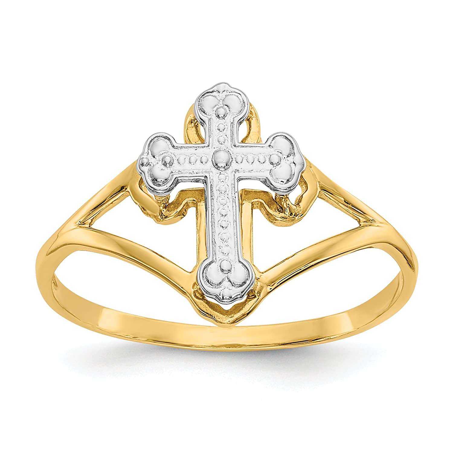 14k Yellow Gold And Rhodium Cross Ring Size 7 Fine Jewelry Ideal Gifts For Women
