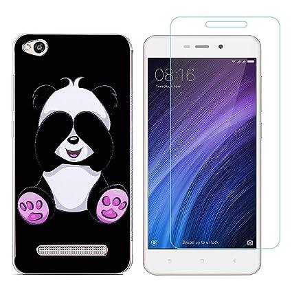 Funda Xiaomi Redmi 4A Panda tímido Suave TPU Silicona Protector Trasero Carcasa para Xiaomi Redmi 4A (5,0 Pulgada) con uno Protector de Cristal ...