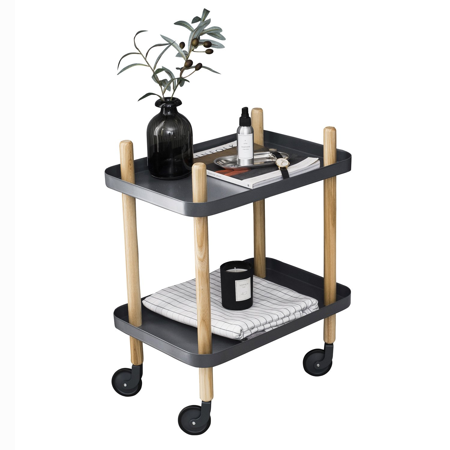 Sofa Side Table with wheels, Metal Tray End Table Living Room Bedroom, 2-Tier Nightstand Utility Rolling Cart, Gray