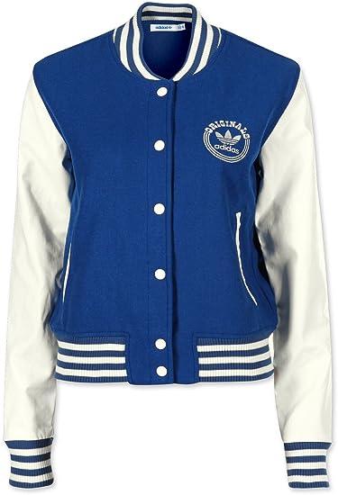 Adidas Originals College Letterman Jacket Damen Jacken Freizeitjacken Sportjacken Retro Vintage Lederimitat Faux für Frauen
