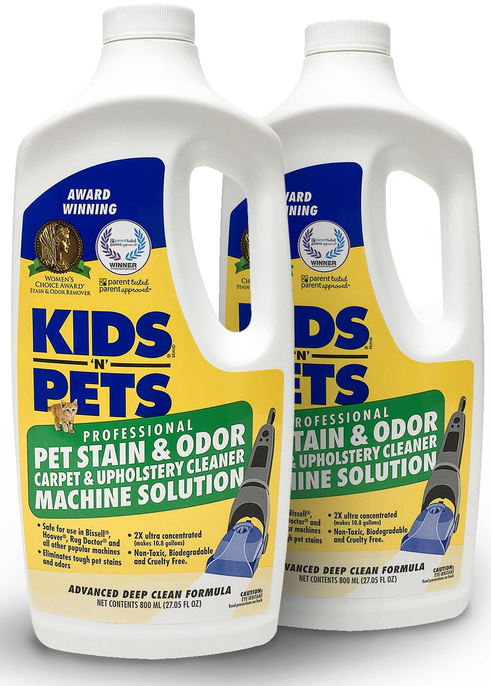 KIDS 'N' PETS - Pet Stain & Odor - Carpet & Upholstery Cleaner Machine Solution - Pack of 2-27.05 oz - Professional Strength Formula Deeply Cleans Carpet & Upholstery - Non-Toxic & Child Safe by KIDS 'N' PETS