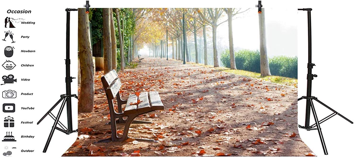 GoEoo 10x8ft Fall Scenery Background Rustic Autumn Fallen Leaves Landscape Photography Backdrop Rural Nature Outdoor Bench Photo Studio Props Idyllic Road Countryside Holiday Party Decor Vinyl Banner
