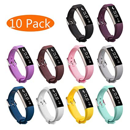 KingAcc Compatible Replacement Bands for Fitbit Alta HR, Fitbit Alta,  Silicone Fitbit Alta HR Band Alta Band, Buckle Wristband Strap Women Men  Large