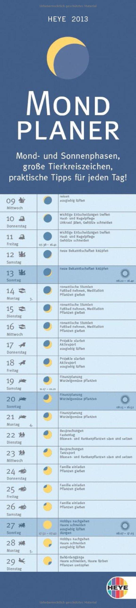 Mond Planer long Kalender 2013