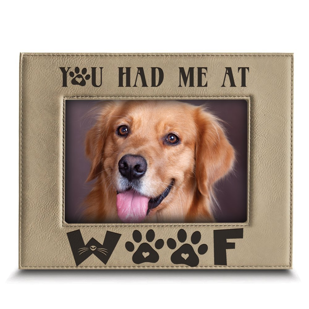 PERSONALIZED-You had me at WOOF-Dog Picture Frame-Pet Frame-Dog lover gift-Engraved Leather Picture Frame
