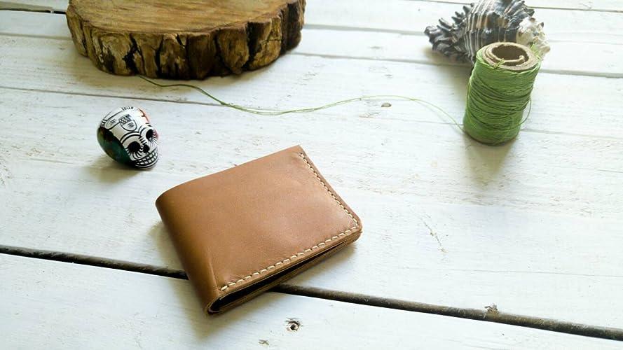 Amazon.com: Camel wallet | mens wallet | Gift | without logo| father | boyfriend | card holder | Cartera hombre piel para tarjetas hecha a mano cuero: ...