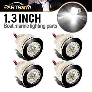 "Partsam 4 Pcs 1-1/4"" Livewell White Outdoor Path Garden Yard Stair LED Deck Step Lights, Mini Round Led Boat Marine Led Courtesy Lights Interior Exterior Under Water IP68"