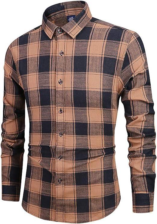ZWLXY Camisa a Cuadros de Manga Larga 100% algodón para Hombre,B,S: Amazon.es: Jardín