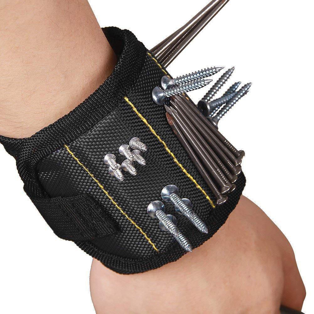 MLM - Pulsera magnética, 15 potentes imanes, cinturón para sujetar tornillos, herramientas, clavos, brocas de perforación, duradero soporte de herramientas ...