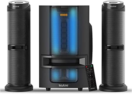 Amazon Com Boytone Bt 426f 2 1 Bluetooth Powerful Home Theater Speaker System With Fm Radio Sd Usb Ports Digital Playback 50 Watts Disco Lights Full Function Remote Control For Smartphone Tablet Home Audio