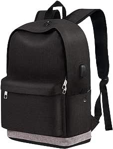"Middle School Backpack, High Student Travel Laptop Backpack for Boy Girl Men Women, Water Resistant Computer Bookbag with USB Charging Port, Slim Lightweight Anti-Theft Bag Fit 15.6"" Notebook, Black"