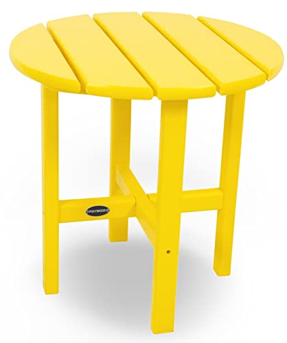 POLYWOOD RST18LE Round 18 Side Table, Lemon