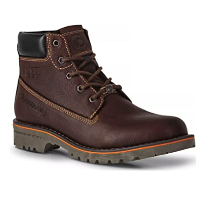 Discovery EXPEDITION Men's Dark Brown Leather Lace-Up Cushioned Outdoors Boot | Hiking Boots