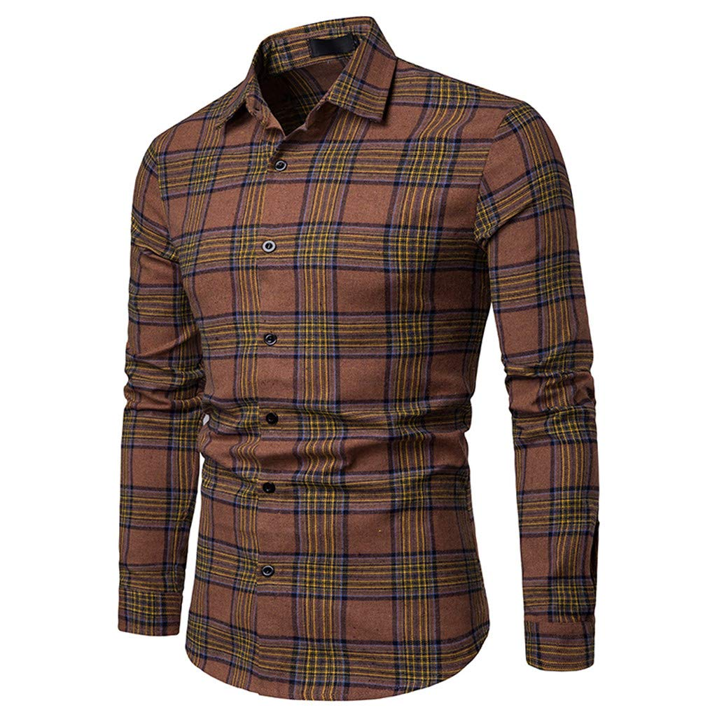 NUWFOR Men's Long Sleeve Lattice Plaid Painting Large Size Casual Top Blouse Shirts(Brown,L US/L AS Bust:40.1'')