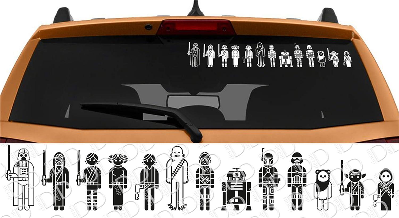 Car Sticker Star Wars Family Skywalker Darth Vader Leia Car Laptop Vinyl Sticker Decal 14 x 2.3 inch