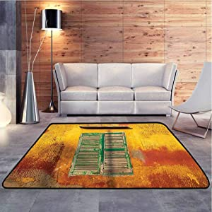 Soft Bedroom Rugs Wooden Window and Old Vintage Orange House in Saint Louis Senegal Classic Home Bedroom Carpet Floor Mat Chic Geometric Design, 6.5 x 10 Feet