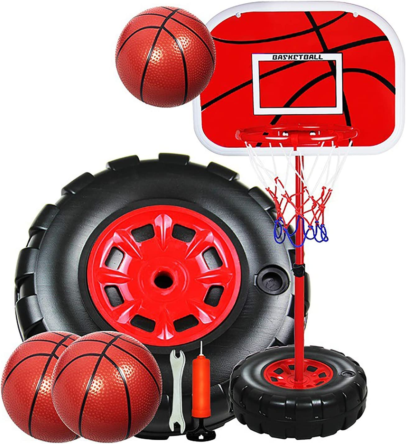 1.7M Kids Basketball Hoop Stand System Portable Adjustable Height Net Ring Ball