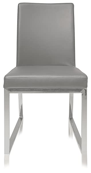 UrbanMod Lexington Parsons Chair Grey Faux Leather Chrome Legs Set Of 2