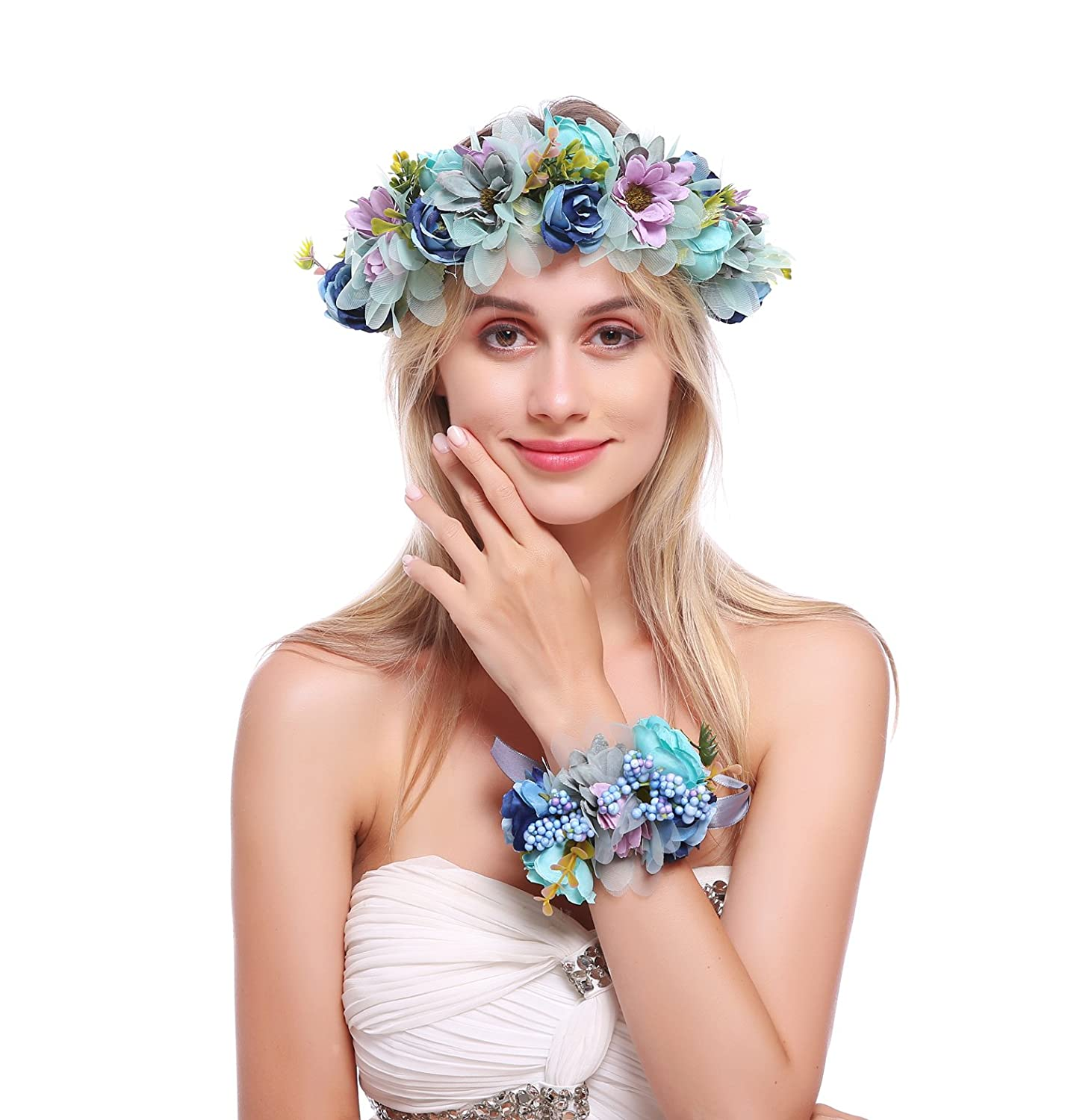 Ddazzling Nature Berries Flower Crown With Floral Wrist Band For